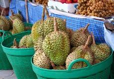 Fresh durian at street market Royalty Free Stock Photo