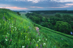 Fresh early morning over hills and Russia Stock Photos