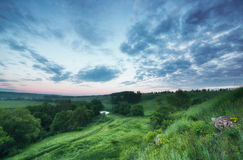 Fresh early morning over hills and Russia Royalty Free Stock Image