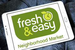 Fresh and easy grocery stores logo. Logo of the international chain of grocery stores fresh and easy on samsung tablet Royalty Free Stock Image
