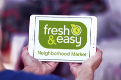 Fresh and easy grocery stores logo. Logo of the international chain of grocery stores fresh and easy on samsung tablet Royalty Free Stock Photo