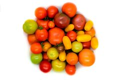Fresh, ecological and colorful different type tomato isolated on. White background royalty free stock photo
