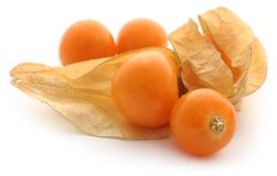 Fresh edible physalis. Over white background Royalty Free Stock Images