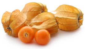 Fresh edible physalis. Over white background Stock Image
