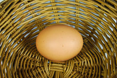 Fresh egg in basket. Fresh egg in vintage style basket royalty free stock images