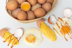 Mix eggs, omelet, fried egg Royalty Free Stock Photography