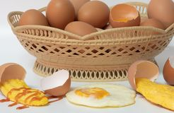 Mix eggs, omelet, fried egg Royalty Free Stock Photo