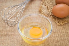 Fresh egg in bowl and metal whisk Stock Image