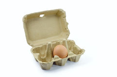 Fresh egg cartons. Fresh eggs, natural packaging on white background Stock Photos