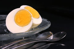 Fresh egg in half Royalty Free Stock Photos