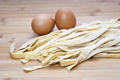 Fresh egg noodles homemade Stock Image