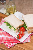Fresh egg and rocket on white sandwich in rustic kitchen setting Stock Images