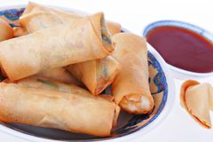 Fresh egg-rolls traditional Chinese food Royalty Free Stock Photos
