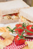 Fresh egg and tomato on white sandwich in rustic kitchen setting Stock Images