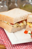 Fresh egg and tomato on white sandwich in rustic kitchen setting Stock Photo