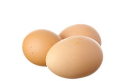 Fresh egg on white Stock Photo