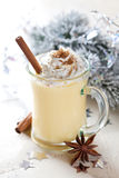 Fresh eggnog with cinnamon Stock Photo