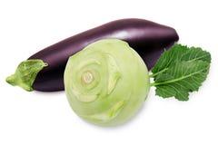Fresh eggplant and green kohlrabi. Isolated on a white background Stock Photo