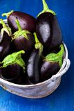 Fresh eggplant in grey basket on blue wooden table.Rustic background. Close up. Vegan vegetable. Royalty Free Stock Photos