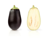 Fresh Eggplant with half on white Royalty Free Stock Photography