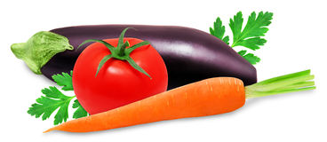 Fresh eggplant, orange carror and red tomatoes. Fresh eggplant, orange carrot and red tomatoes isolated on a white background Stock Image