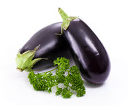 Fresh eggplant with parsley Stock Photos