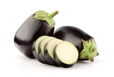 Fresh Eggplant and slices on white Stock Photography