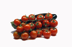 Fresh eggplant and tomatoes. On a white background Stock Photography