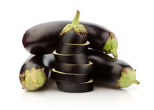 Fresh Eggplant on white Stock Photos