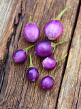 Fresh eggplant on wooden Royalty Free Stock Image