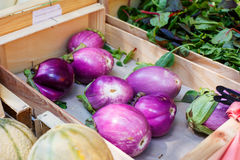 Fresh eggplants, aubergine vegetables on street market in Proven. Fresh eggplants, aubergine vegetables on mediterranean street market in Provence, France Royalty Free Stock Image