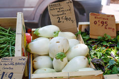 Fresh eggplants, aubergine vegetables on street market in Proven. Fresh eggplants, aubergine vegetables on mediterranean street market in Provence, France Stock Photo