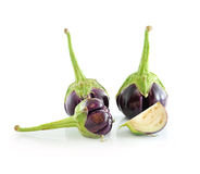Fresh eggplants isolated on white Stock Photo
