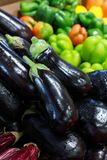 Fresh eggplants in the greek grocery shop. Royalty Free Stock Images