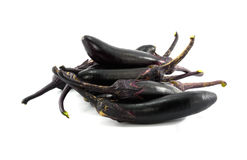 Fresh eggplants in white background. Stock Photo