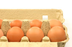 Fresh eggs. Full open tray with fresh eggs on a white background Royalty Free Stock Photography