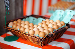 Fresh eggs on agricultural market Stock Photo