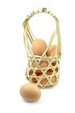Fresh eggs from bamboo packaging Royalty Free Stock Photos
