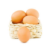 Fresh eggs in basket Royalty Free Stock Images