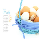 Fresh eggs in the basket Royalty Free Stock Image