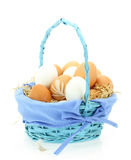 Fresh eggs in the basket Stock Photo