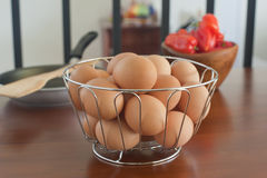 Fresh Eggs in a Basket Stock Image