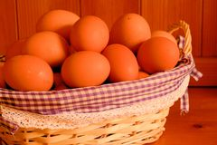 eggs, fresh  in a basket Stock Images