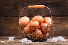 Fresh eggs in a basket Stock Photos