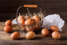 Fresh eggs in a basket Royalty Free Stock Photo