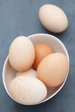 Fresh eggs in a bowl Stock Image