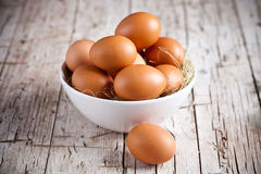 Fresh eggs in a bowl Stock Photography