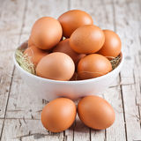 Fresh eggs in a bowl Royalty Free Stock Photography