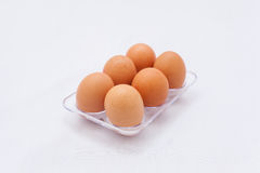 Fresh eggs in the box Royalty Free Stock Photos