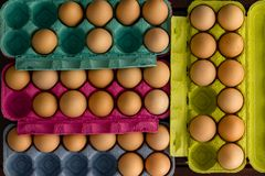 Fresh eggs in cardboard boxes stock image